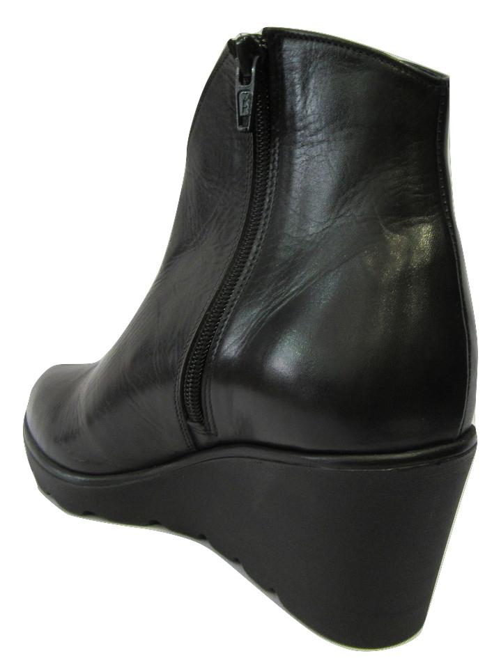 Boots MYMA cuir noir talon compensé