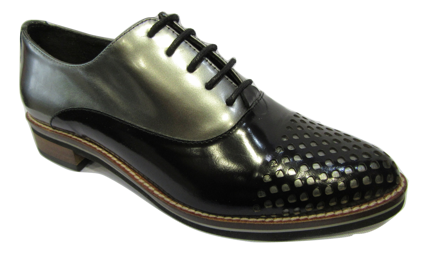 Derbies GADEA cuir noir et acier mode