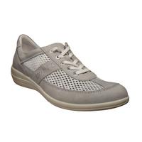 Basket femme ENVAL cuir gris et toile ajourée