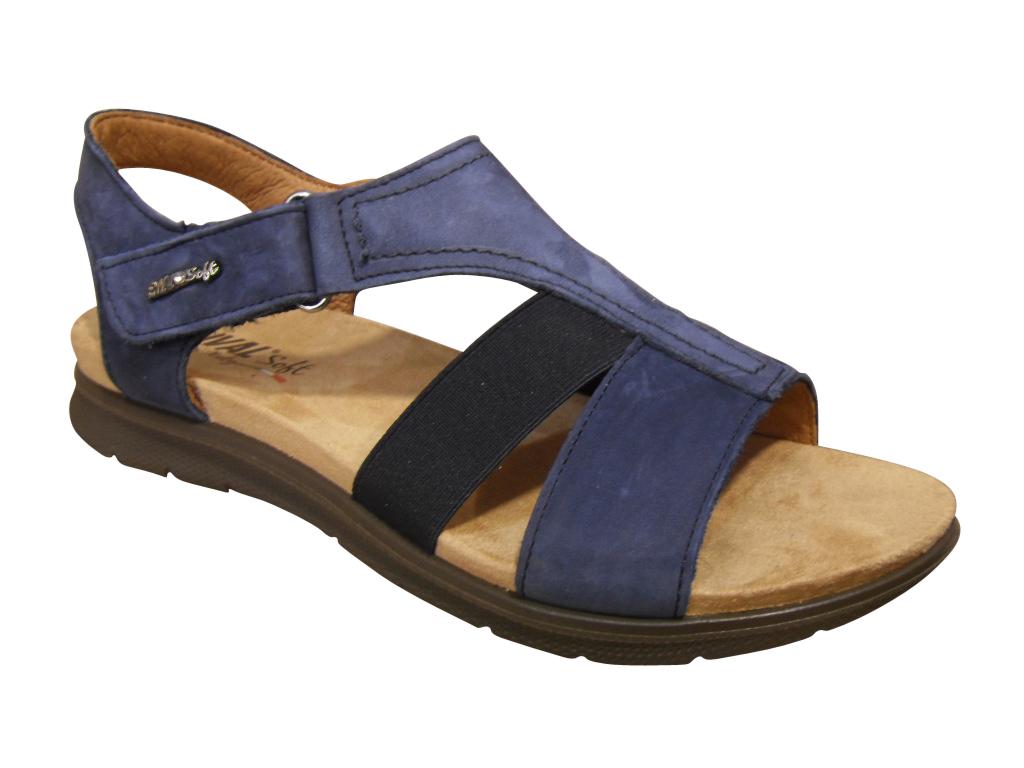 Sandale/pied-nu confort nubuck bleu ENVAL