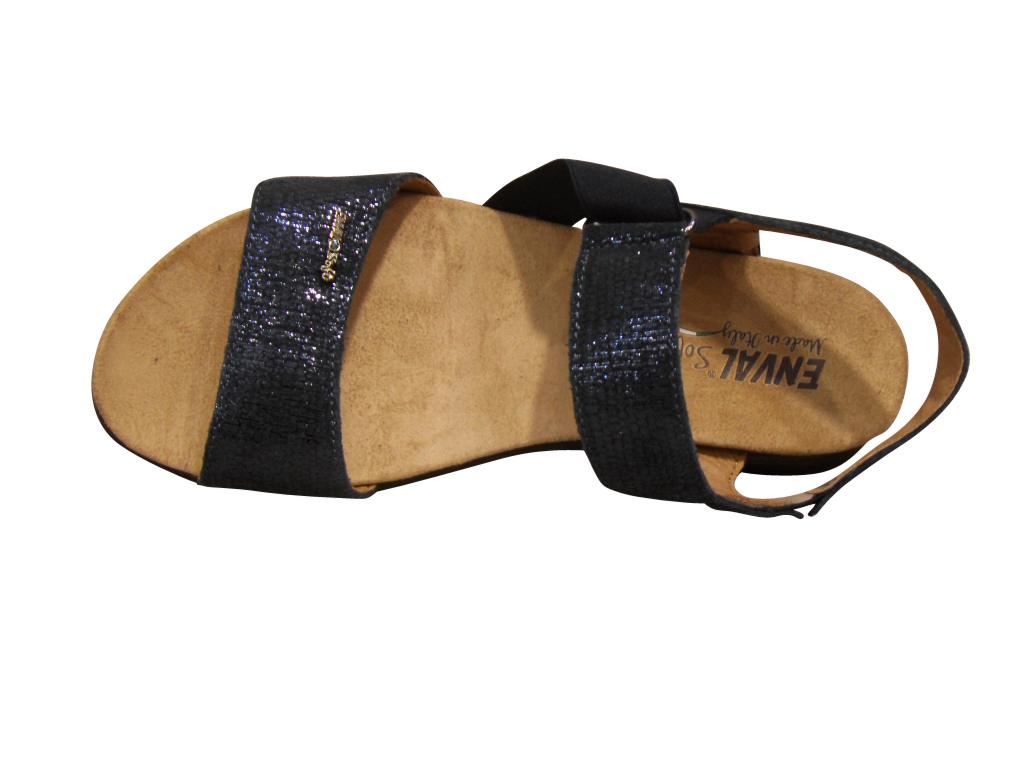Sandale/pied-nu confort cuir bleu ENVAL