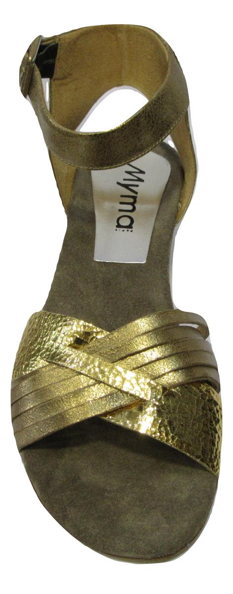 Sandale/Pied-nu MYMA en cuir or