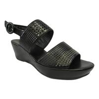 Sandales HOGL confort en cuir noir talon compensé