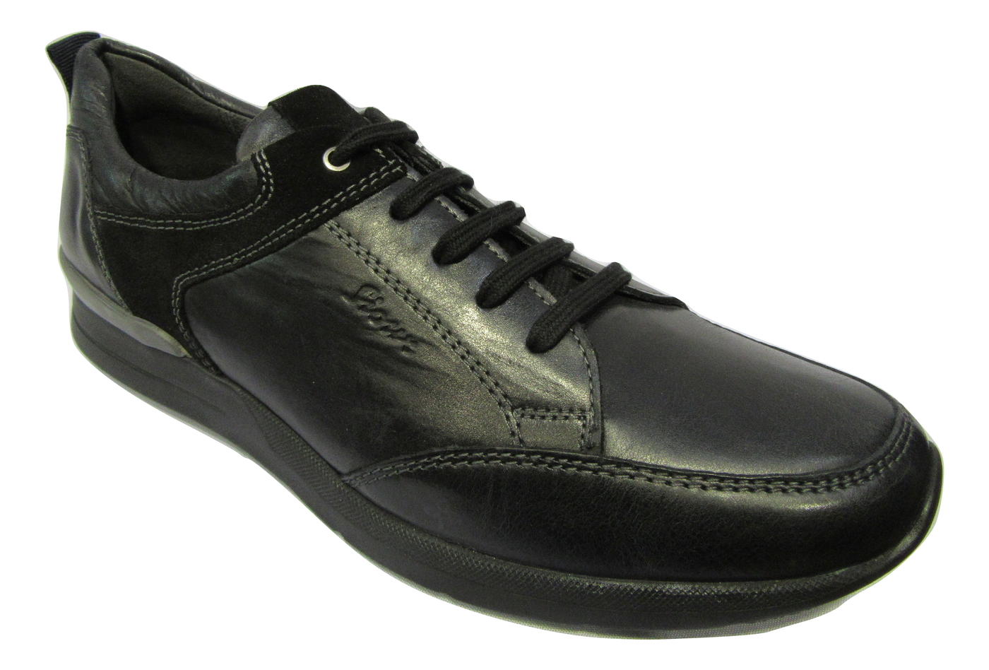 Basket ville basse SIOUX cuir noir confort