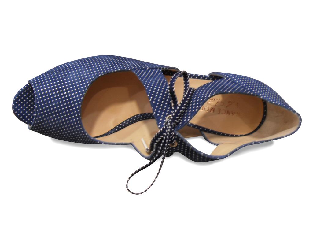 Escarpins FRANCE MODE bout ouvert nubuck bleu