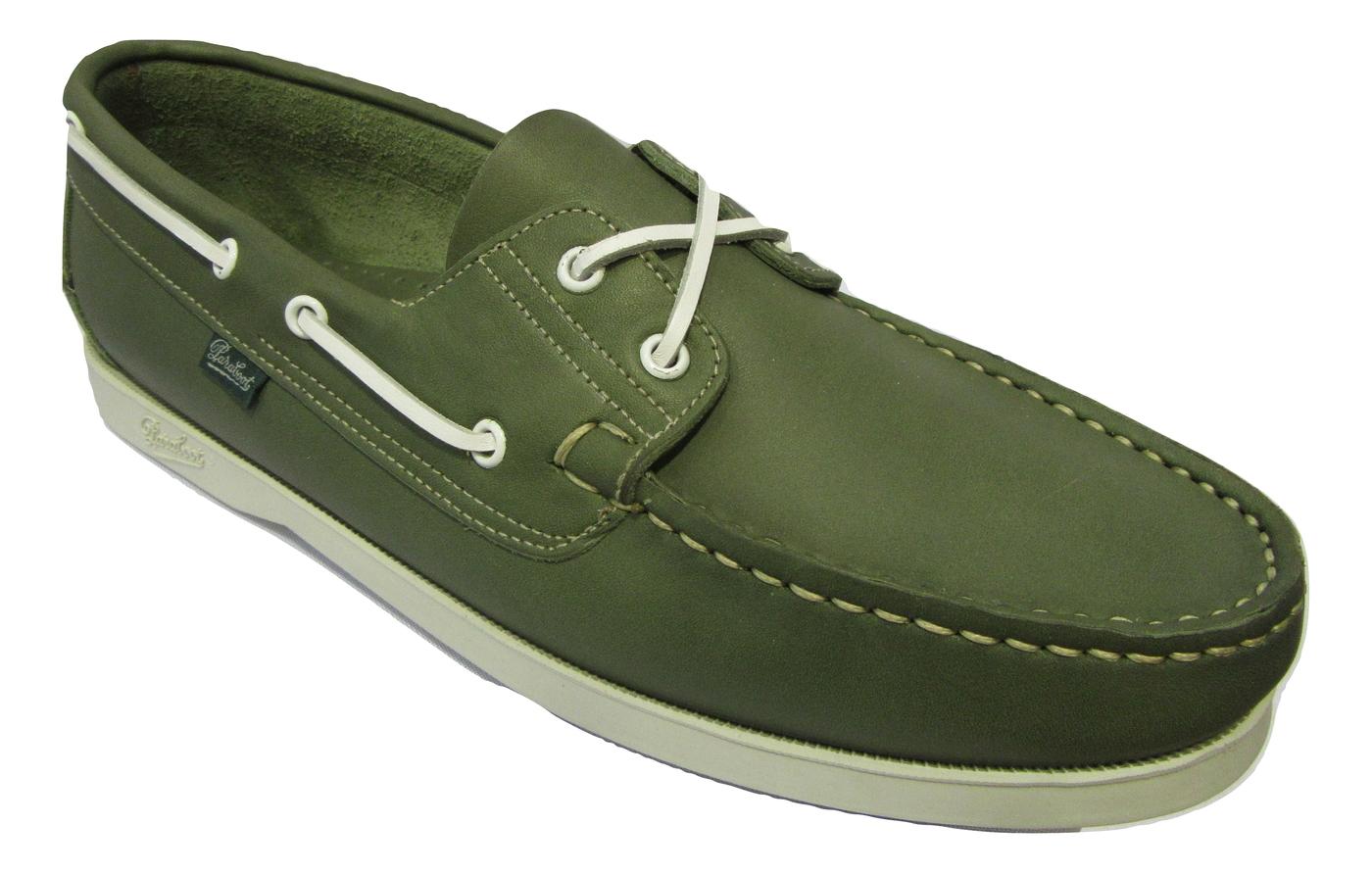 Chaussure bateau PARABOOT cuir vert cousu