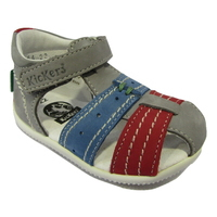 Sandale premiers pas KICKERS gris/rouge et bleu
