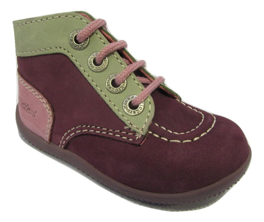 chaussure premiers pas kickers en cuir violet fille chaussure filles enfants chaussures. Black Bedroom Furniture Sets. Home Design Ideas