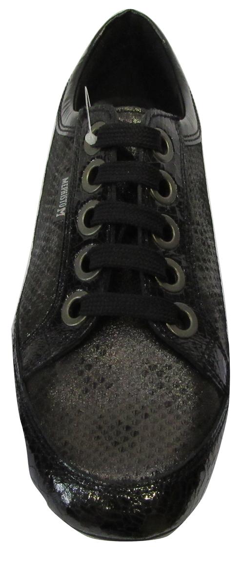Basket basses confort MEPHISTO en cuir noir et nuances bronze