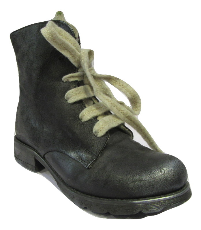 Boots PAPUCEI cuir noir originales doublure feutre