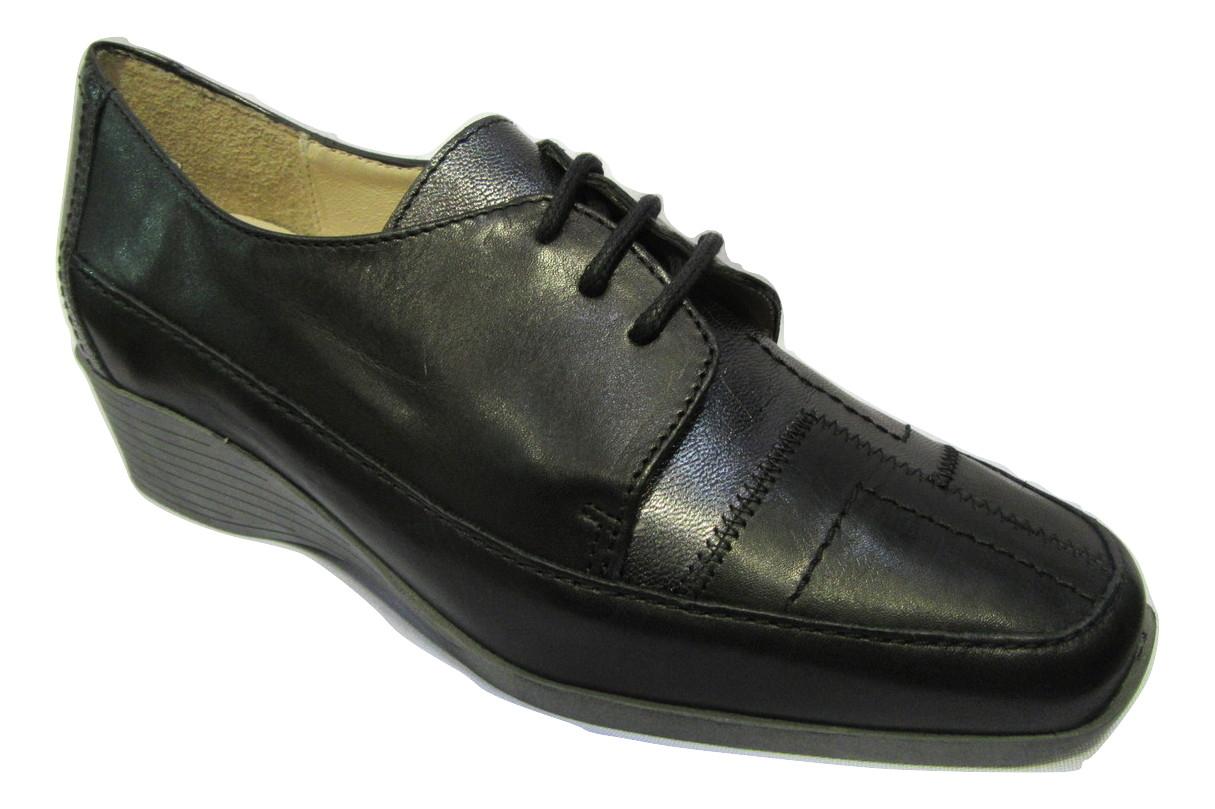 Chaussure confort/pieds sensibles cuir LUXAT noir talon compensé