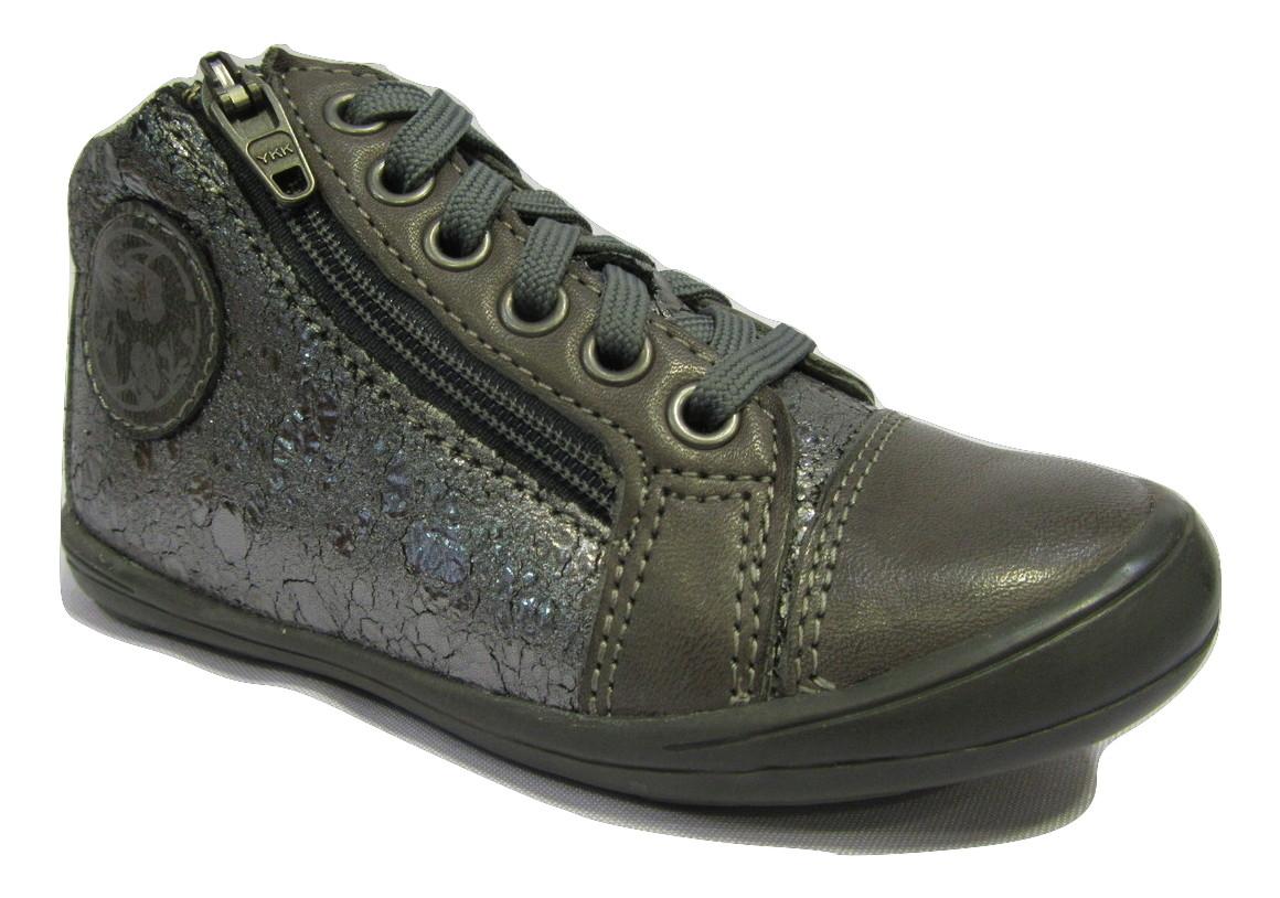 botillons boots filles en cuir gris noel zip lacets 28 32 chaussure filles enfants chaussures. Black Bedroom Furniture Sets. Home Design Ideas