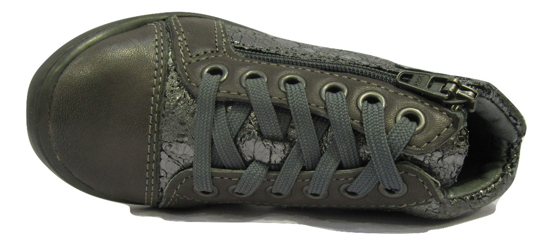 Botillons/Boots filles en cuir gris NOEL zip/lacets (28/32)
