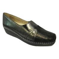 Chaussure confort/pieds sensibles cuir LUXAT noir et bronze talon compensé