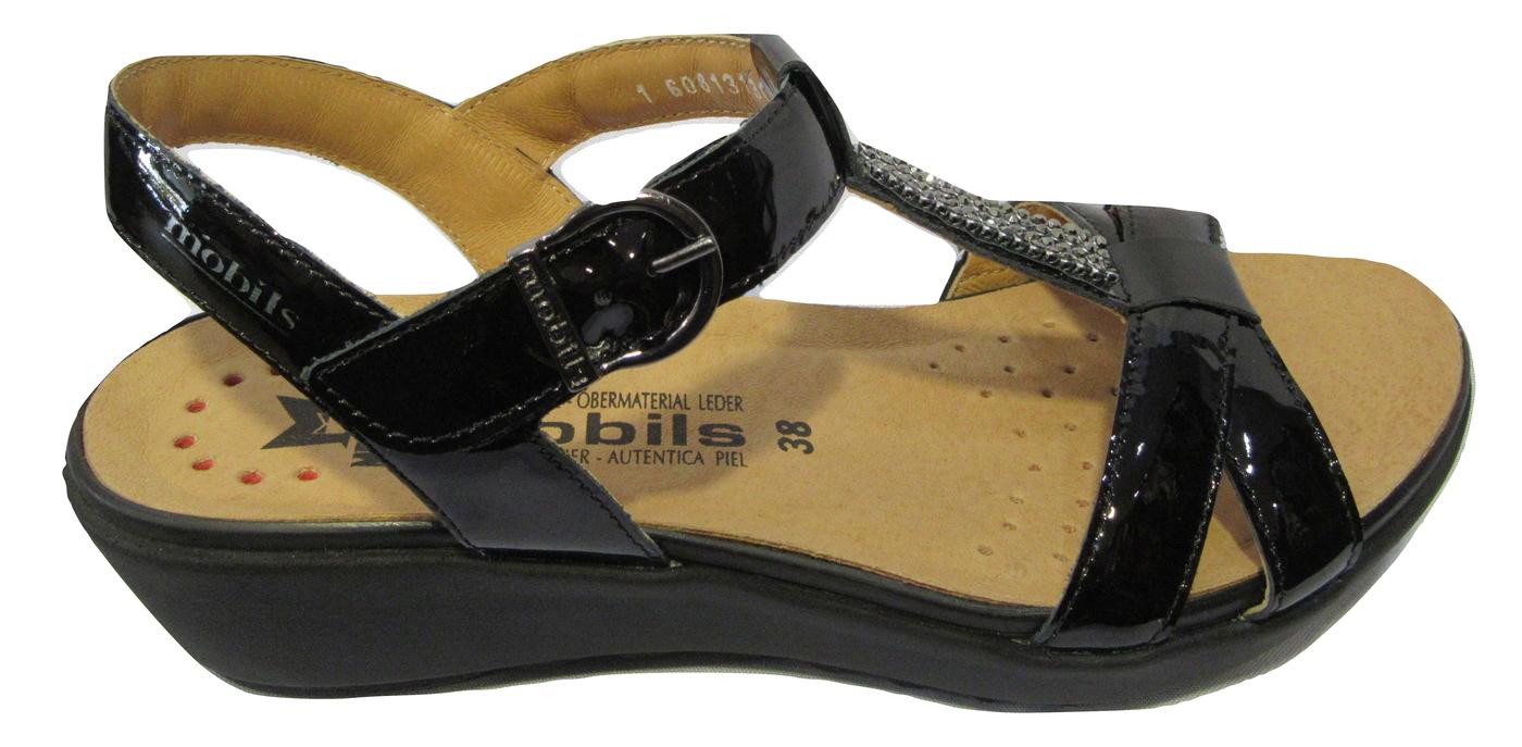 Sandales/Nu pieds confort MEPHISTO cuir vernis noir