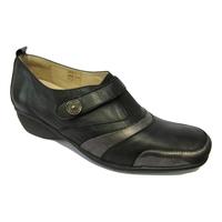 Chaussure confort/pieds sensibles cuir LUXAT noir élastique et scratch
