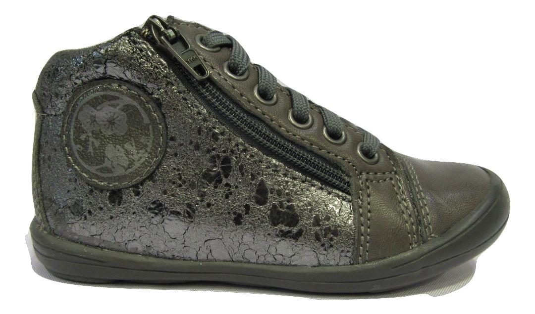 Botillons/Boots filles en cuir gris NOEL velcro/lacets (25-27)