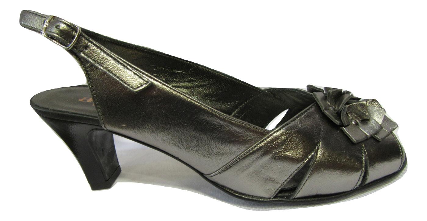 Nu pied habillé confort ARTIKA cuir gris acier soirée et danse.