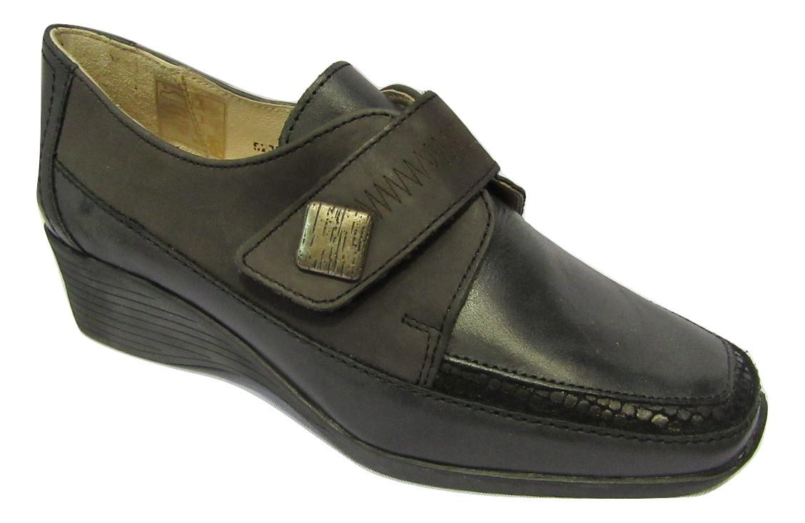 Chaussure confort pieds sensibles LUXAT scratch noir/gris à talon