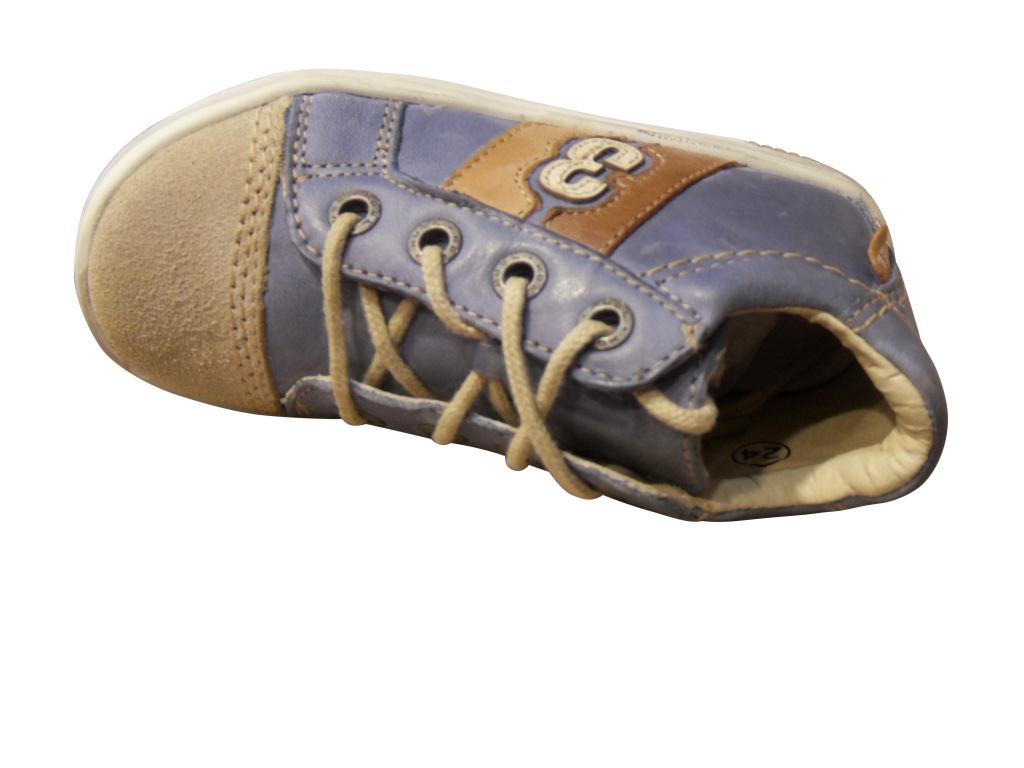 Basket garçon NOEL cuir bleu à lacets