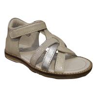 Nu-pied/Sandale fille NOEL cuir gris/argent (pointure 20 à23)