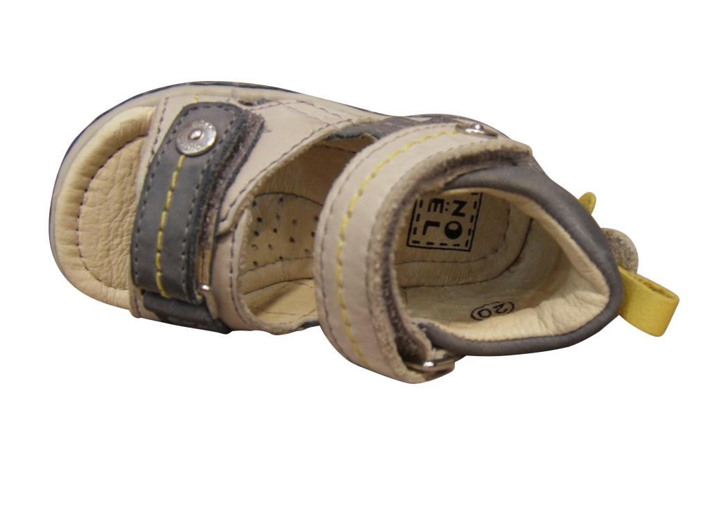 Nu-pied/Sandale garçon NOEL cuir gris et beige (pointure 19 à 23)