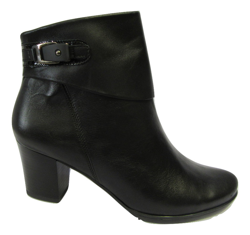 Bottines confort METAYER en cuir lisse noir