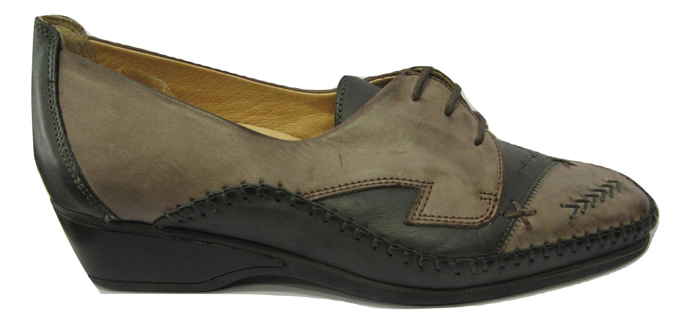 Chaussure confort/pieds sensibles cuir LUXAT gris et marron à lacets