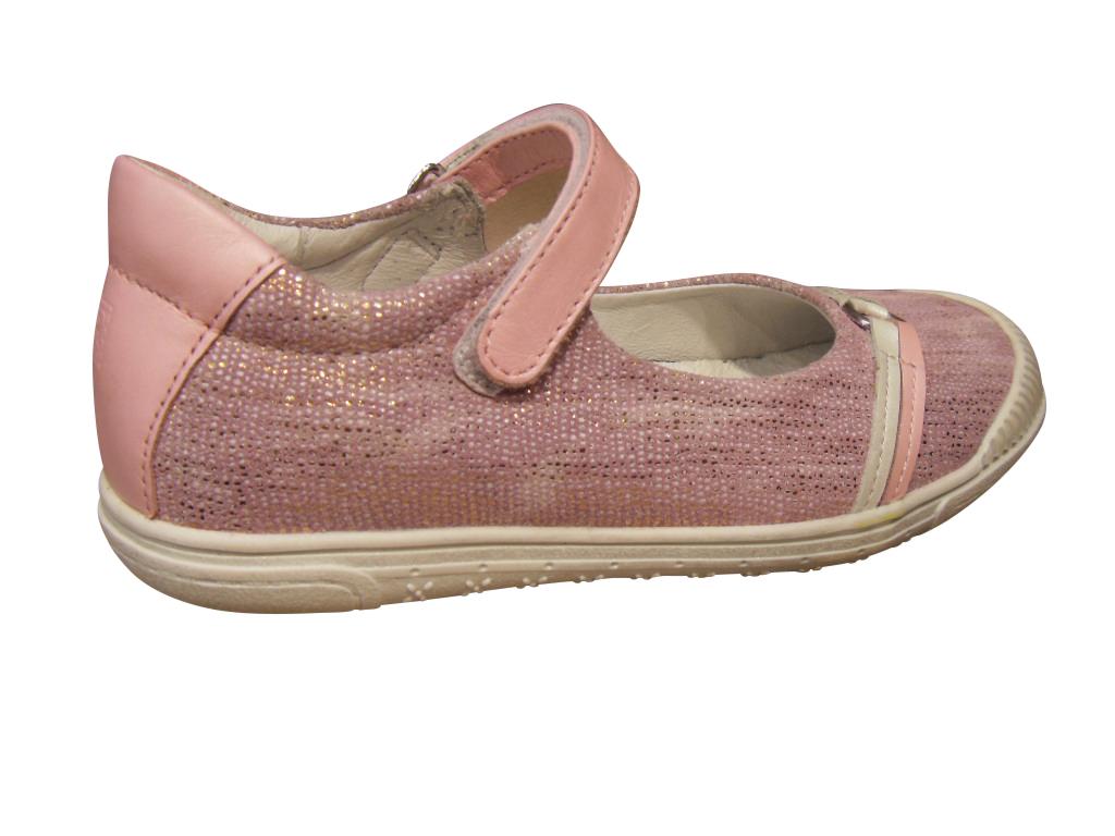 Babies/Ballerine  fille NOEL cuir rose (pointure 28 à 34)