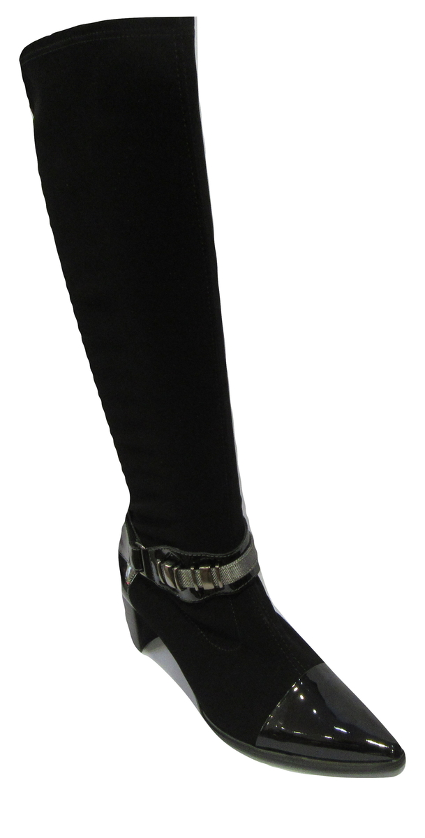 Bottes à talon FRANCE MODE en cuir et strech noir