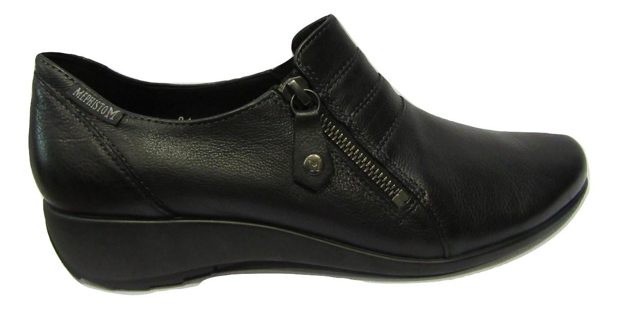 Chaussure confort à zip MEPHISTO femme cuir noir