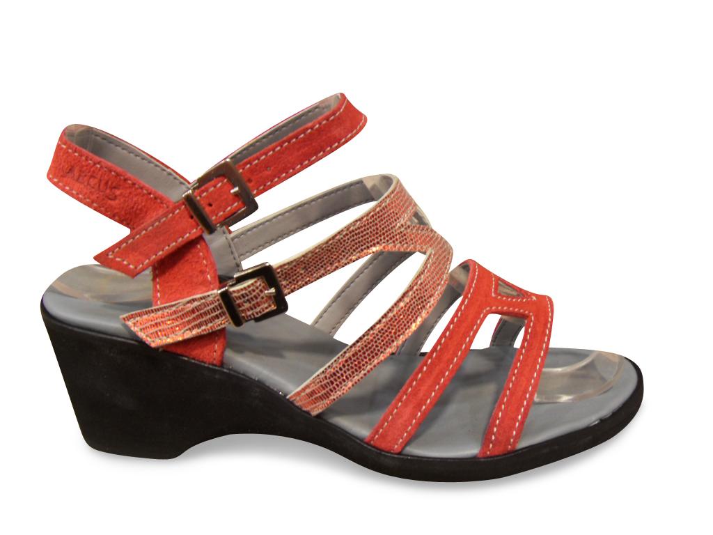 Nu-pied/Sandale confort ARCUS cuir rouge très léger