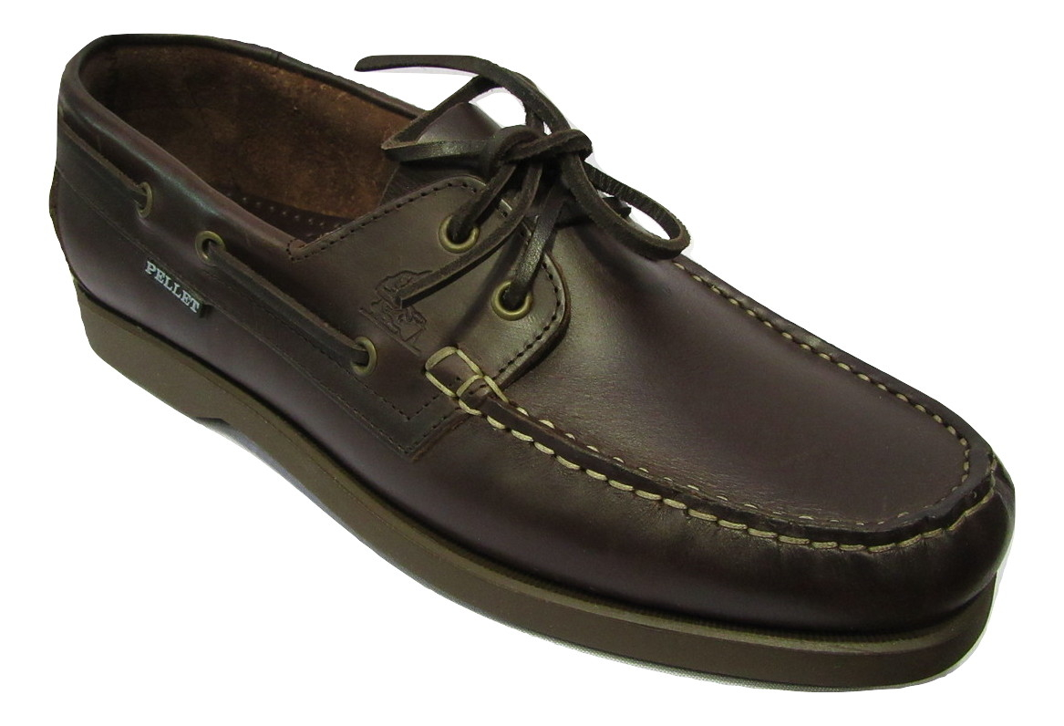 Chaussure bateau PELLET cuir marron