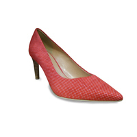 Escarpin FRANCE MODE talon haut nubuck rouge