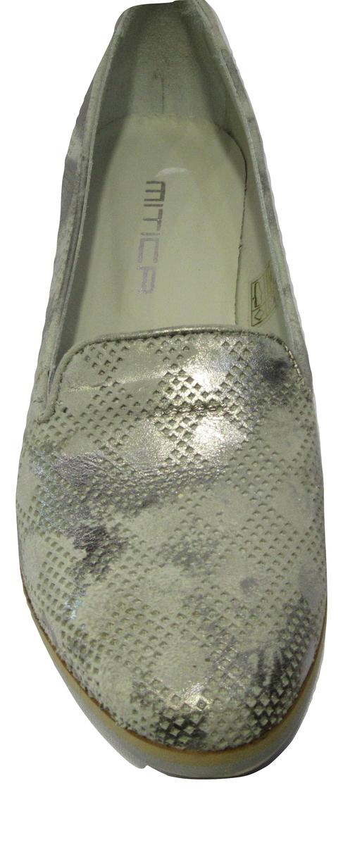 Ballerine MITICA en cuir gris métal