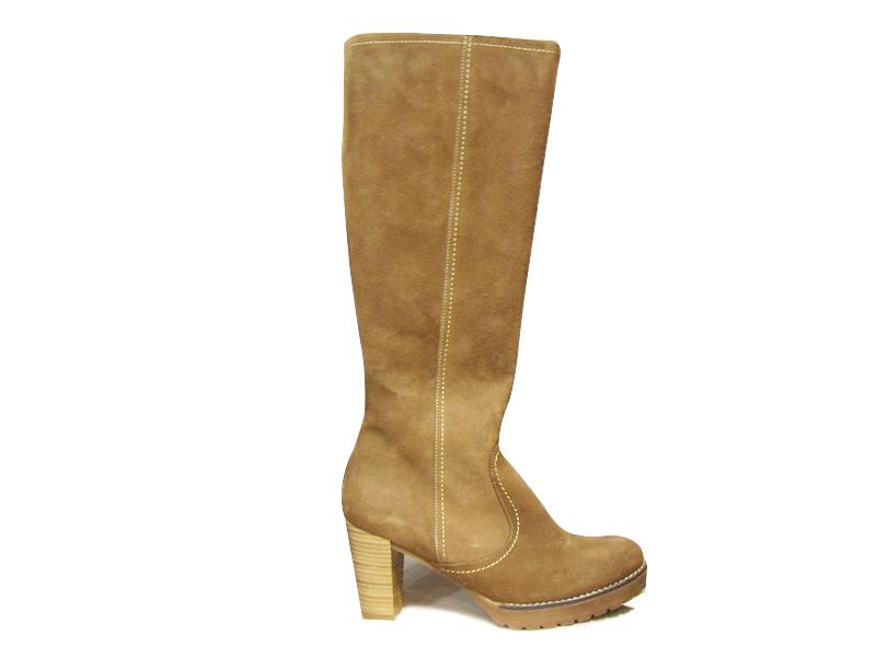 a219cf093447 Bottes femmes HUELLA en daim beige à talon Bottes Chaussures pour ...