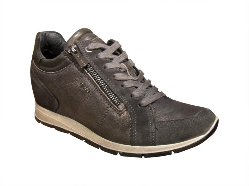 baskets femme ville cuir gris avec talon baskets basses baskets chaussures pour femmes femmes. Black Bedroom Furniture Sets. Home Design Ideas