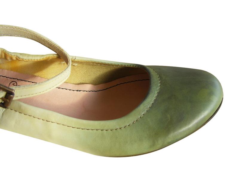 Ballerines à bride femme/enfant FELMINI cuir vert
