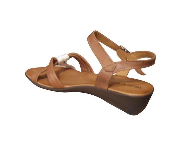 Nu-pieds femme TELLES QU'ELLES cuir marron clair/blanc