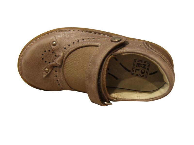 Chaussures filles basses NOEL en cuir marron clair