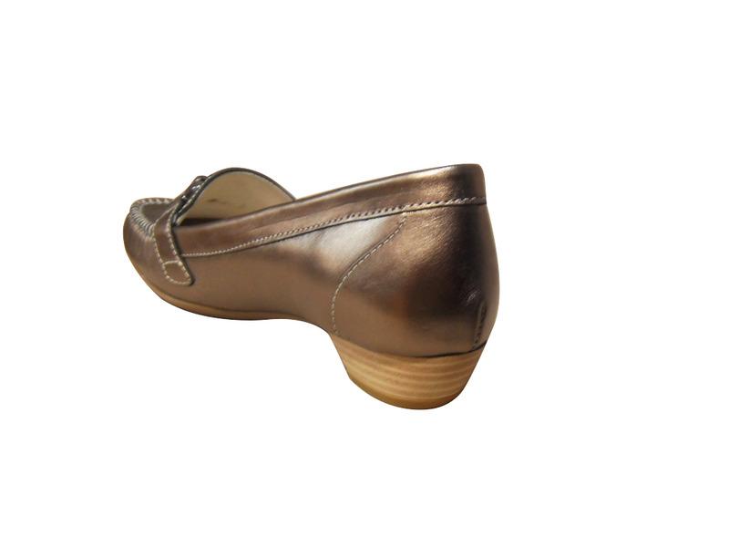 Mocassin pour femmes à talon bronze petit talon confort