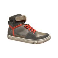 Boots garçon en cuir à velcro et lacets élastiquéés cuir gris