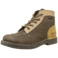 Boots à lacets KICKERS KICK COL kaki jaune cuir marron