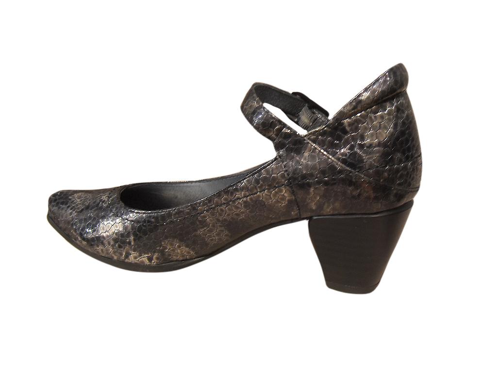 Escarpins femme à bride METAYER cuir noir/gris talon confort