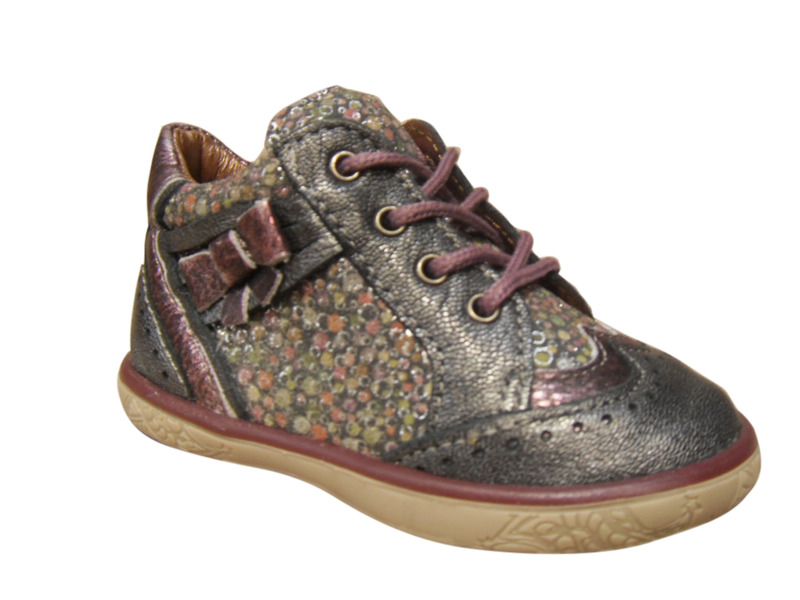 Chaussures filles NOEL montantes cuir gris