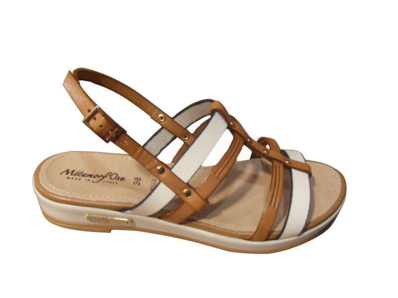 Sandales femme METAMORF'OSE cuir blanc/couleur cuir