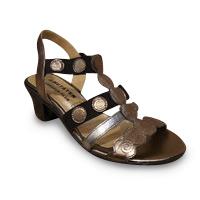 Sandale/pied-nu METAYER cuir noir et bronze doré