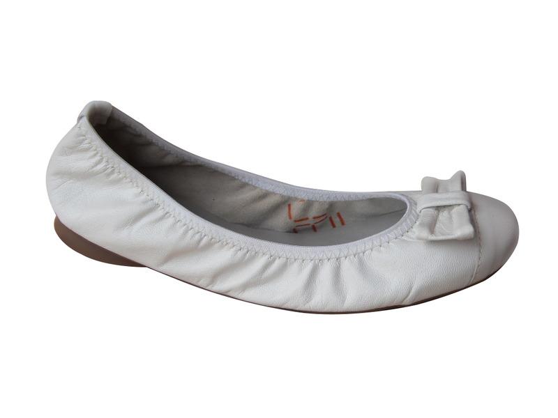 Ballerine SANTAFE femme/fille en cuir blanc