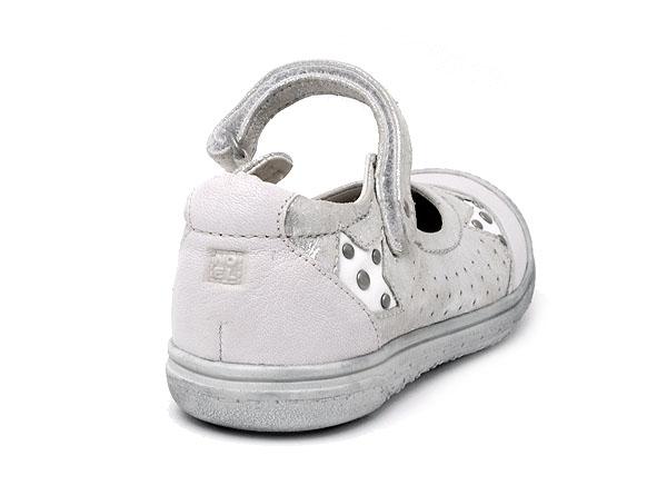 Babies NOEL cuir blanc/argent