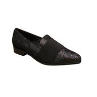 Loafer/Mocassin soirée en cuir noir/argent